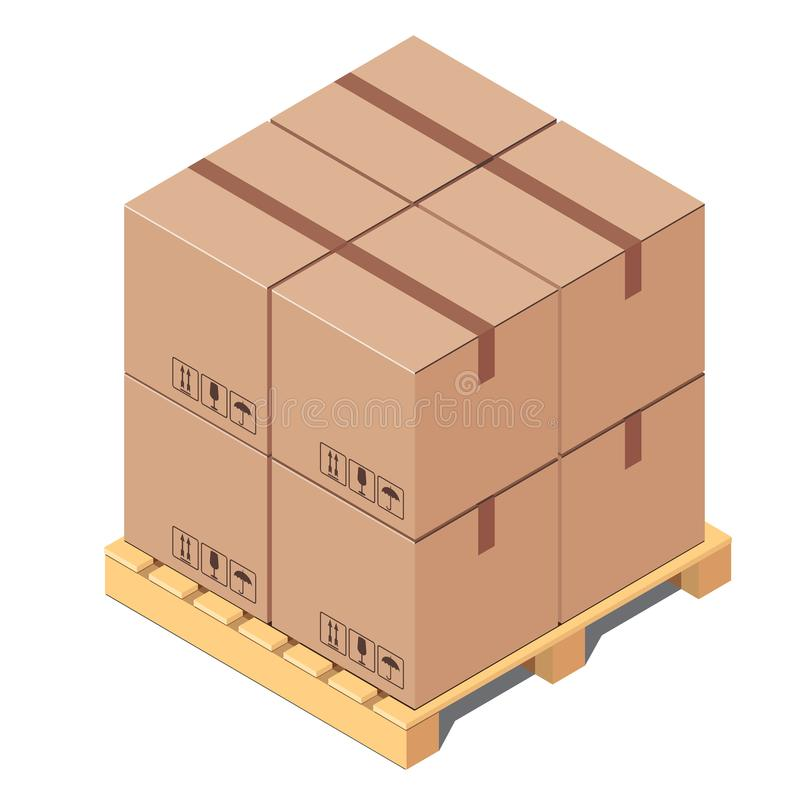 Cardboard boxes on wooden pallet isolated on white background. Isometric vector illustration royalty free illustration