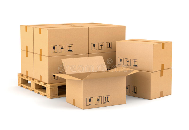 Cardboard boxes and wooden pallet. Isolated on white background. Warehouse, shipping, cargo and delivery concept stock illustration
