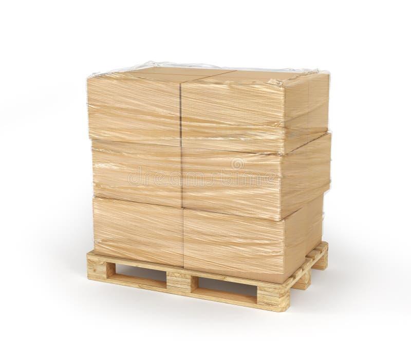 Cardboard boxes wrapped polyethylene on wooden pallet isolated on white background. 3d. Illustration stock illustration