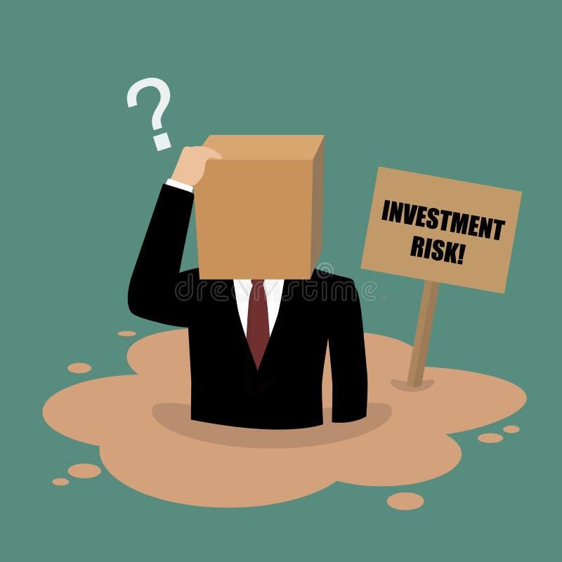 Cardboard businessman sinking in a quicksand stock illustration