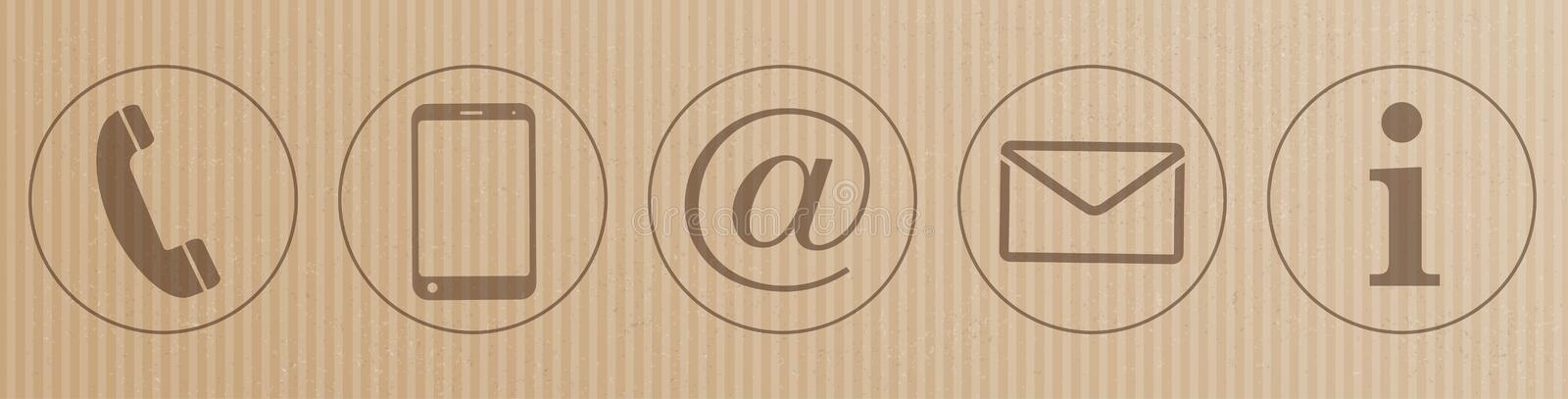 Cardboard Contact Icons Header. Brown and striped cardboard header with contact icons vector illustration