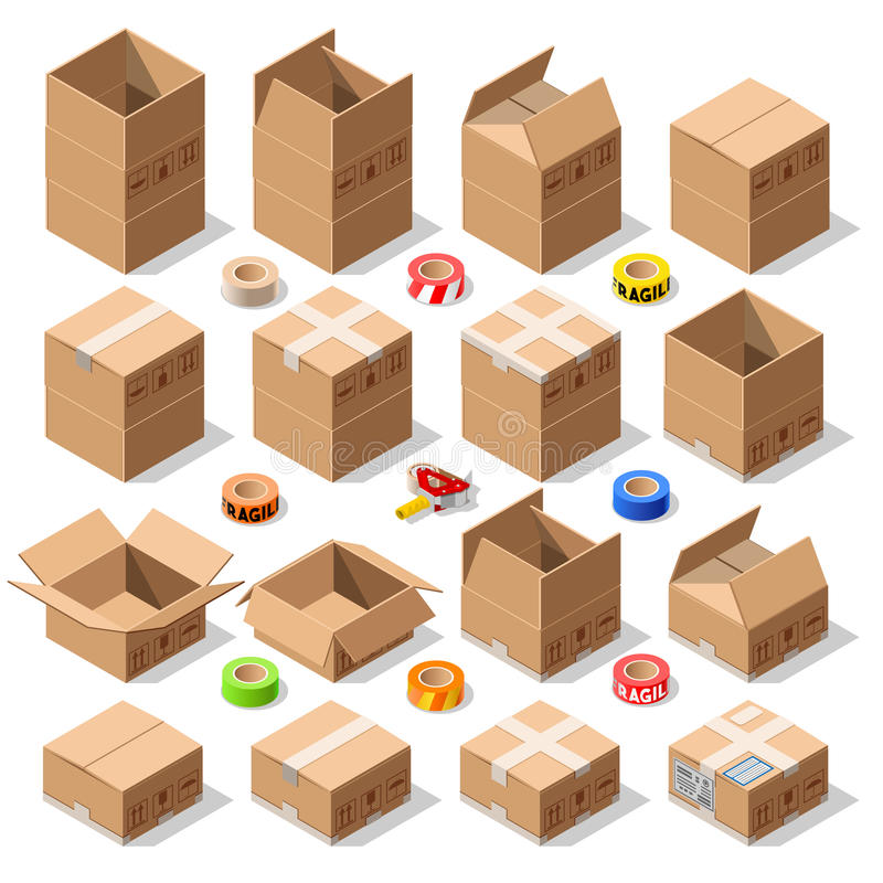 Cardboard Delivery Box Packaging 3D Isometric Vector Icons stock illustration