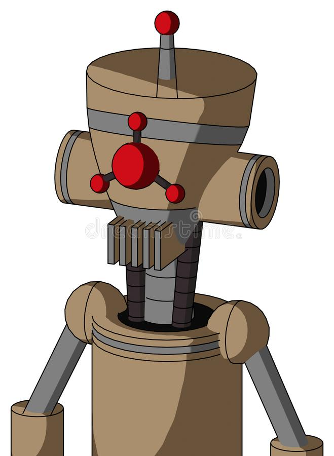 Cardboard Droid With Vase Head And Vent Mouth And Cyclops Compound Eyes And Single Led Antenna. Portrait style Cardboard Droid With Vase Head And Vent Mouth And vector illustration