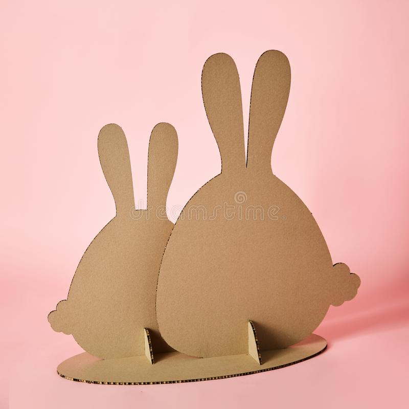 The cardboard Easter background. Cardboard Easter Decoration. stock photo