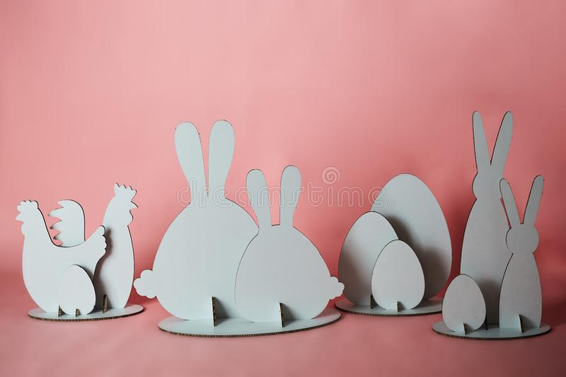 The cardboard Easter background. Cardboard Easter Decoration. royalty free stock photo