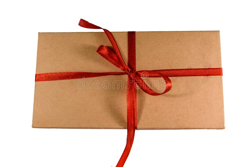 Cardboard gift box isolated on a white background. Cardboard gift box isolated on white background stock photos
