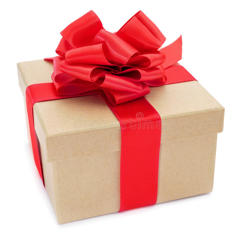 Cardboard gift box with a red ribbon bow royalty free stock photos