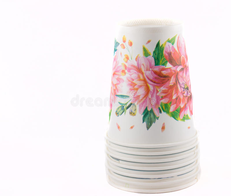Cardboard glasses with flowers. Isolated on white background royalty free stock photos