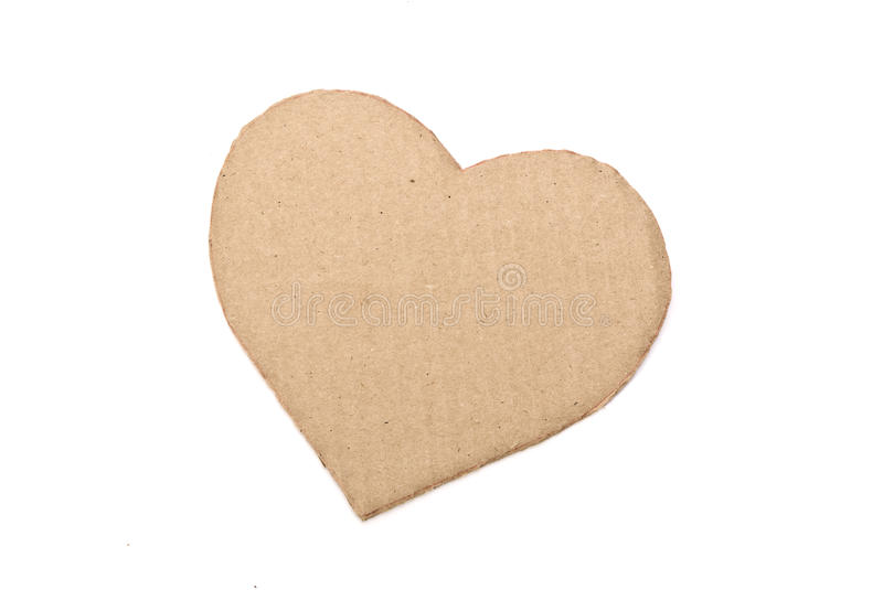 Cardboard heart. Isolated on white stock photos