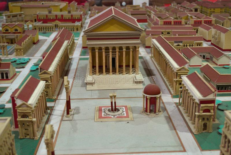 Cardboard model of a roman city stock photos