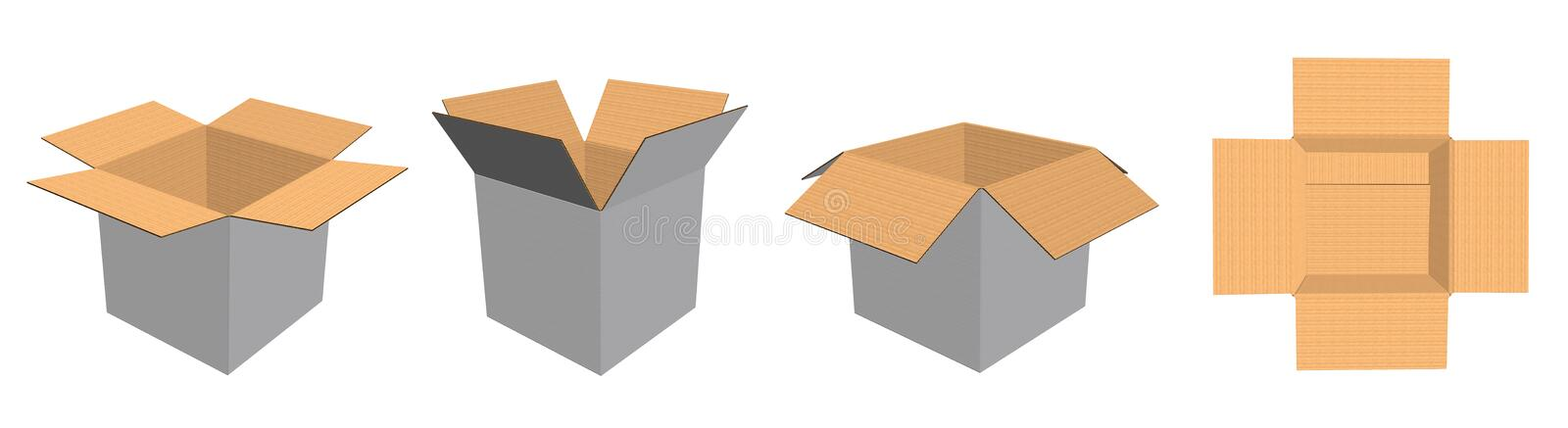 Cardboard open box mock up, clear, blank, isolated on white background with perspective presentation. 3D illustration royalty free illustration