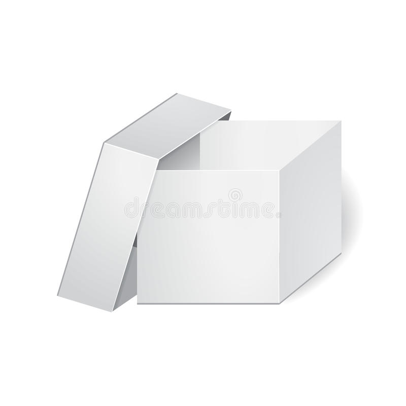 Cardboard package box on the white background. mock up,. Template. stock vector illustration