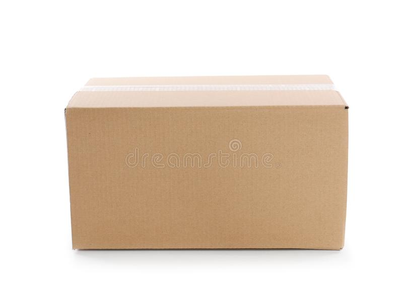Cardboard parcel box on white background stock photography