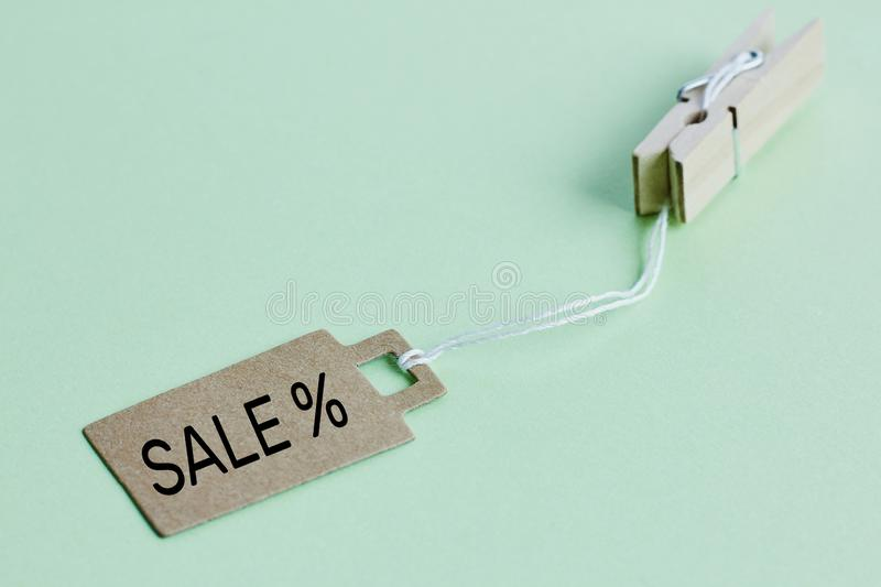 Cardboard price tag with sign sale hanging on wooden clothes clips on pastel green background royalty free stock image
