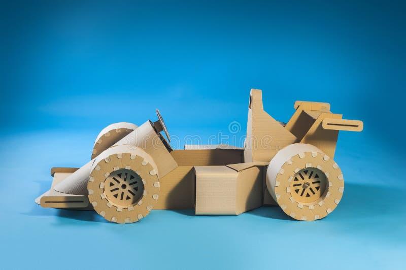 Cardboard racing car royalty free stock image