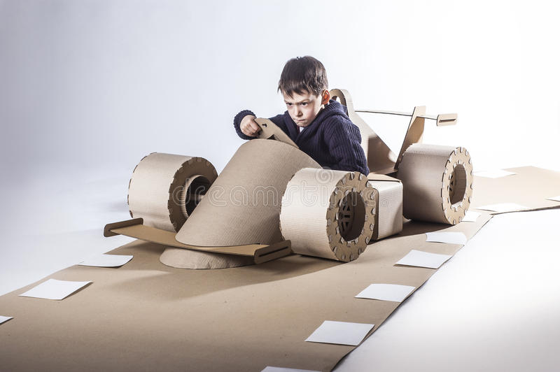 Cardboard racing car royalty free stock photography