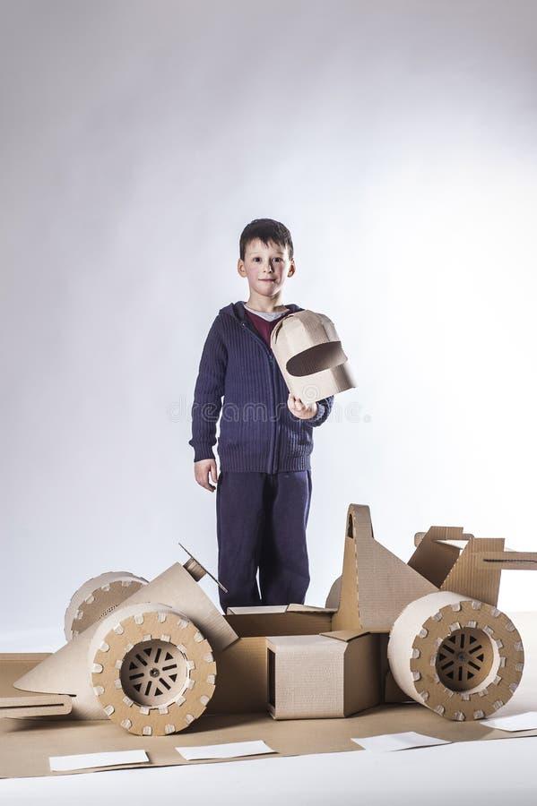 Cardboard racing car royalty free stock photo
