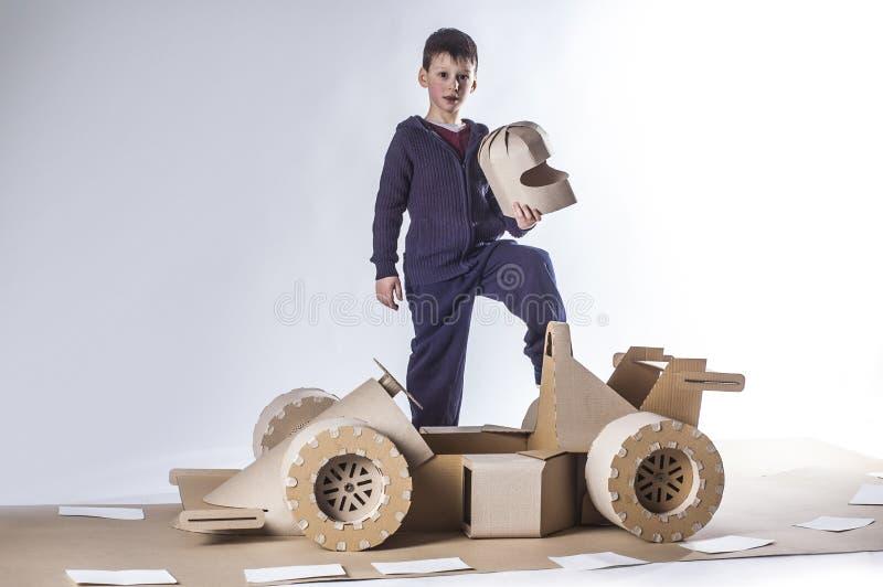 Cardboard racing car stock images