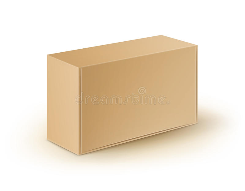 Cardboard Rectangle Take Away Box Packaging For Sandwich, Food Isolated. Vector Brown Blank Cardboard Rectangle Take Away Box Packaging For Sandwich, Food, Gift stock illustration