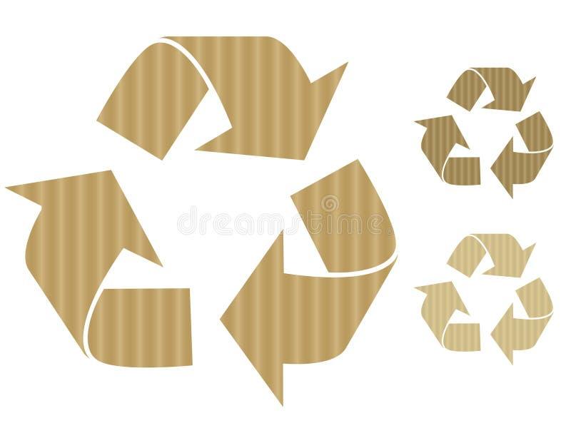 Cardboard recycle symbols royalty free illustration