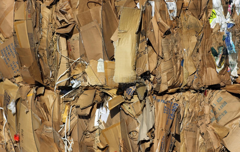 Cardboard recycling. Baled cardboard at a recycling plant, ready to process stock images