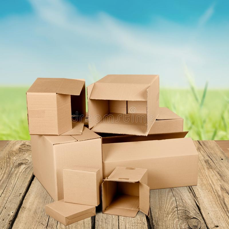 Cardboard Recycling. Garbage Box Cardboard Box Stack Old Heap royalty free stock photography