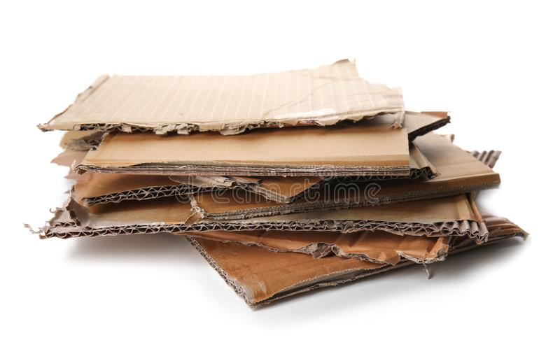 Cardboard sheets on white background. Recycling concept stock photos