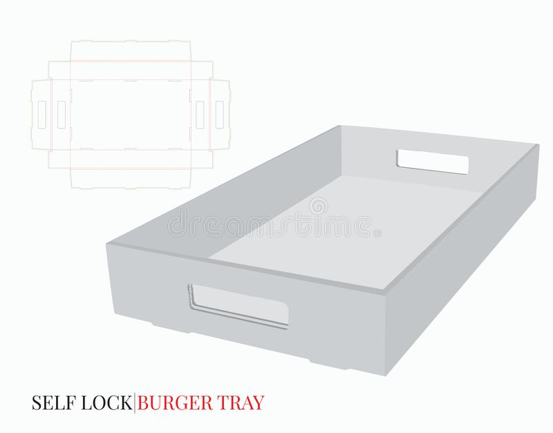 Cardboard Tray With Handles Template. Vector with die cut / laser cut layers. White, empty, blank, isolated Corrugated Burger. Tray on white background with vector illustration