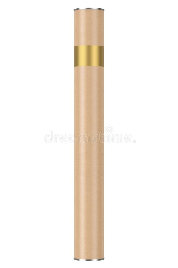 Cardboard Tube Package Box Container Mockup. 3d Rendering stock illustration