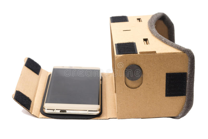 Cardboard virtual reality glasses isolated stock image