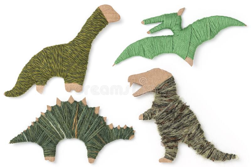 Cardboard wool dinosaurs royalty free stock images