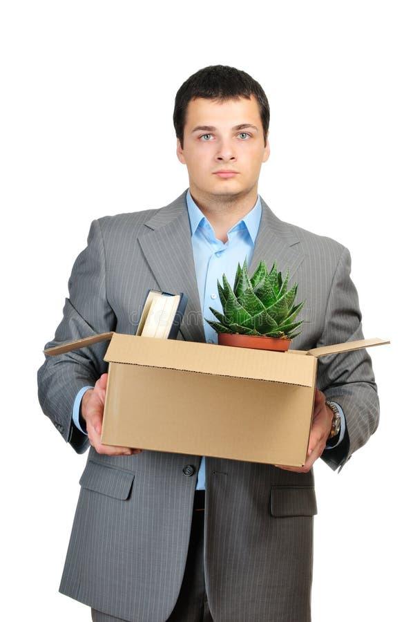 Cardboardbox novo da preensão do homem de negócios foto de stock