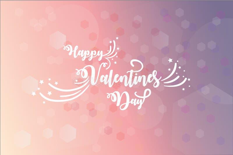 Carde com desejos do dia de Valentim sobre o fundo cor-de-rosa alargado blury ilustração stock