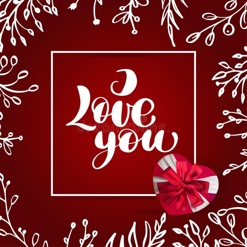 Carde el vector de la tarjeta del día de San Valentín te amo que pone letras al texto elegante con una caja de regalo realista en libre illustration