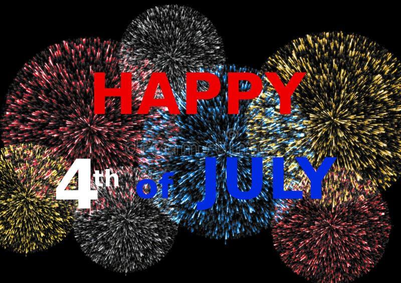 Carde feliz 4o julho em fogos-de-artifício coloridos ilustração royalty free
