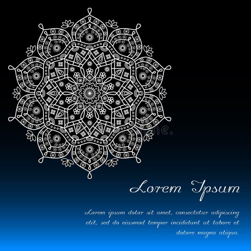 Carde la plantilla con la decoración floral de la mandala en azul, negro y blanco stock de ilustración