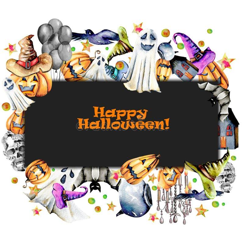 Carde la plantilla, el marco de las calabazas de los objetos de Halloween de la acuarela en sombreros viejos, los espectros, el c stock de ilustración