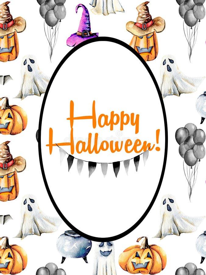 Carde la plantilla, marco oval en el fondo de Halloween de la acuarela stock de ilustración