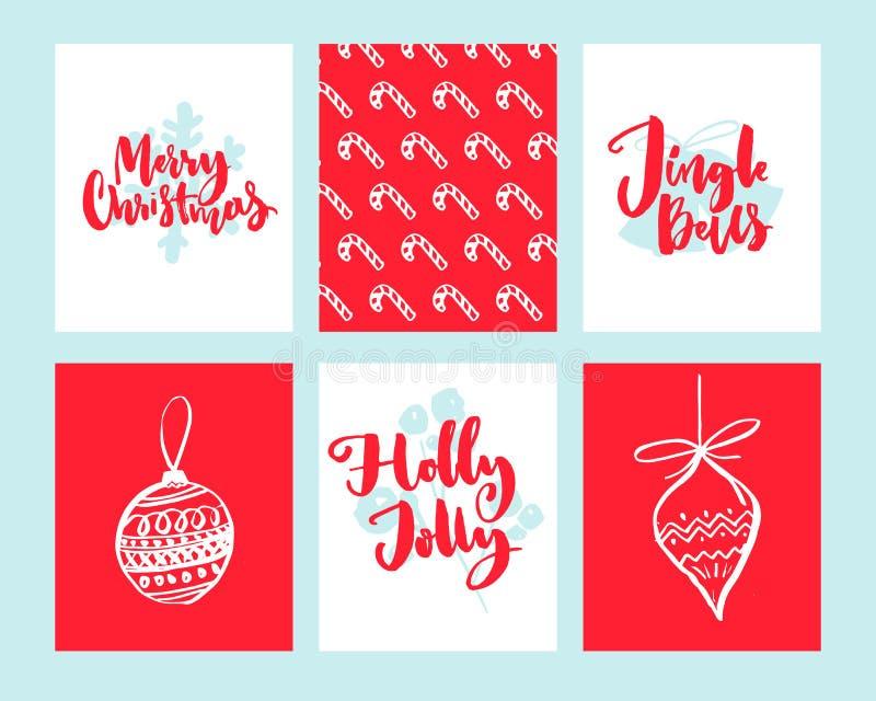carde Noël joyeux Ensemble de calibres de conception de vacances d'hiver Gribouillez l'illustration des décorations de Noël, cann illustration libre de droits