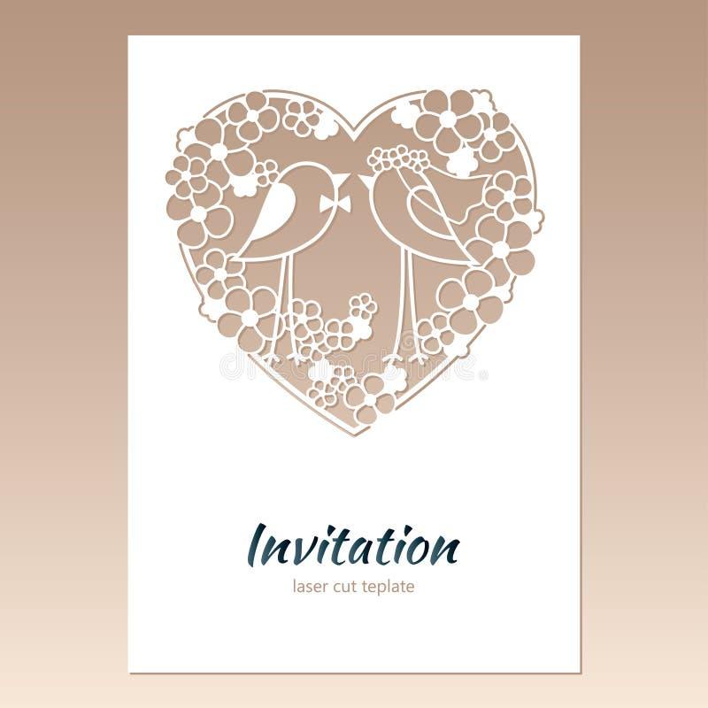 Carde o convite com coração a céu aberto e dois pássaros ilustração do vetor