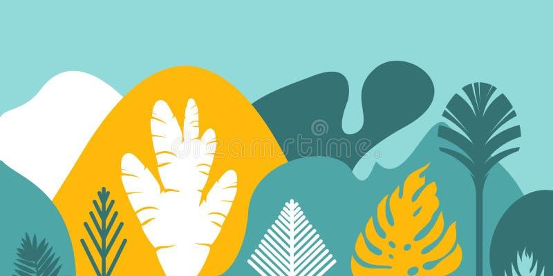 Carde o convite da bandeira com os montes e as montanhas ajardinando tropicais das árvores das plantas Preservação do ambiente, e ilustração do vetor