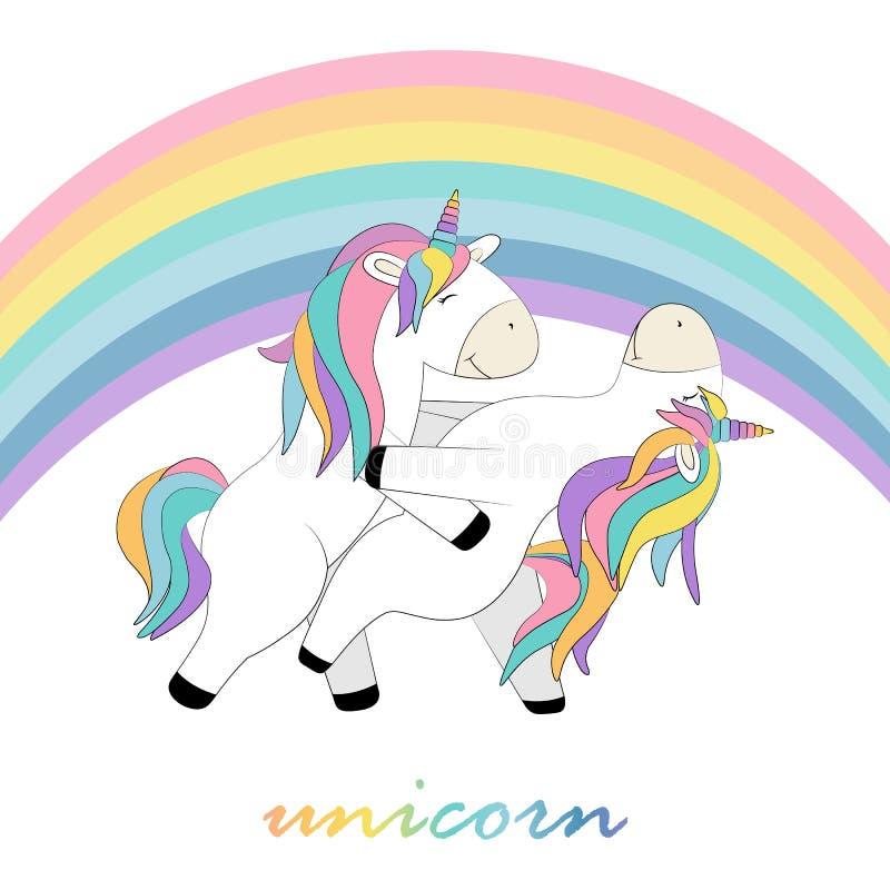 Carde os unicórnios do whith dois que dançam sob os desenhos animados do arco-íris ilustração stock