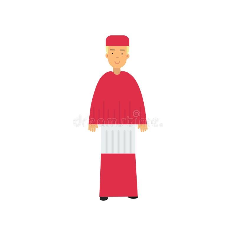 Cardeal católico no caráter vermelho da veste, ilustração representativa do vetor da religião ilustração do vetor
