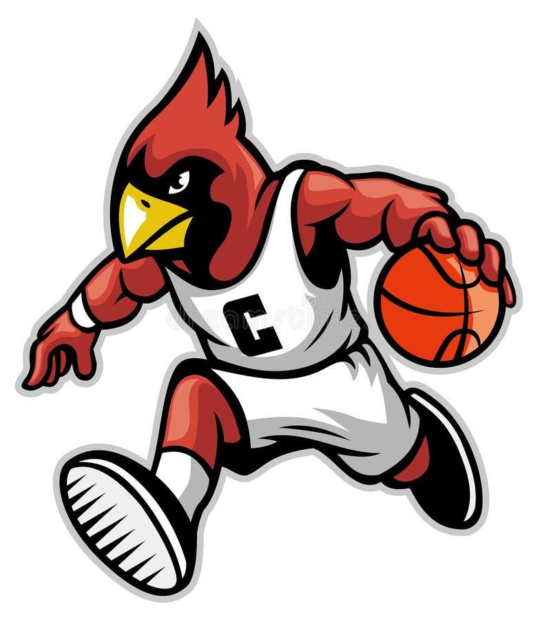 Cardeal como uma mascote do basquetebol ilustração stock