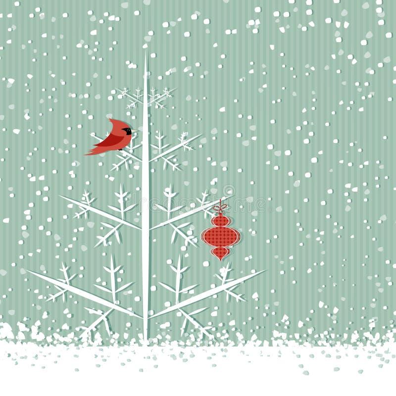 Cardeal e árvore vermelhos ilustração do vetor
