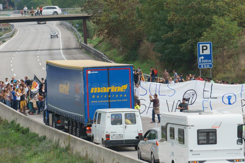 Cardedeu, Catalonia, Spain, October 3, 2017: paceful people cutting off the highway. AP-7 in protest for spanish police repression of first october stock image