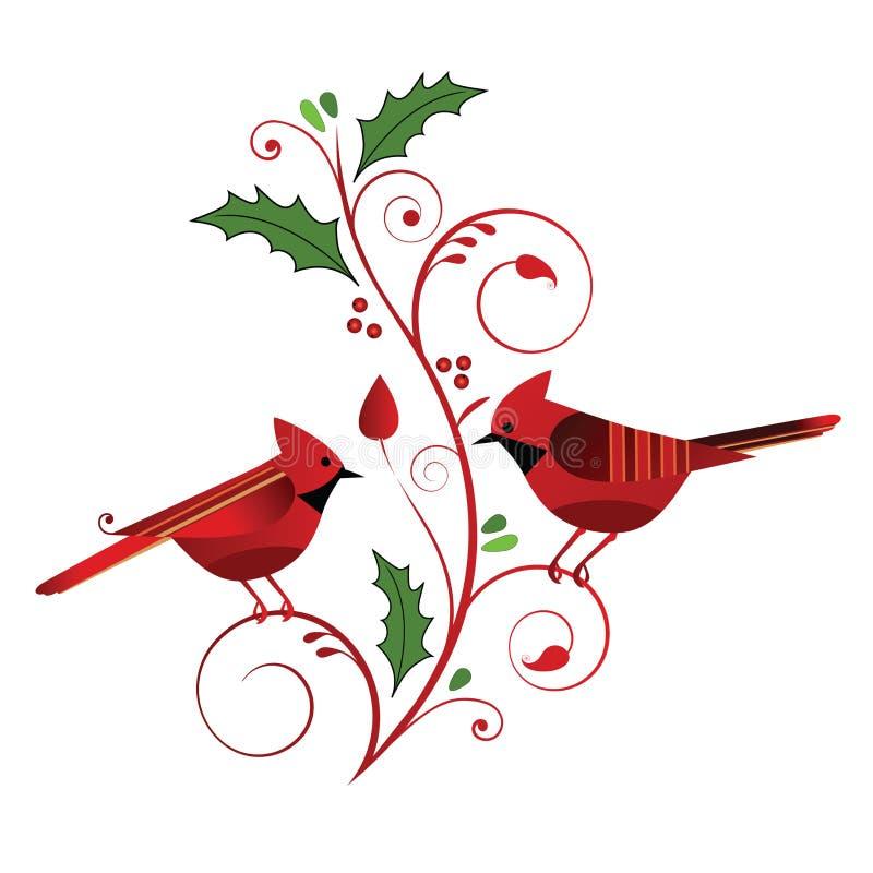 Cardenales rojos y Flourish de la Navidad
