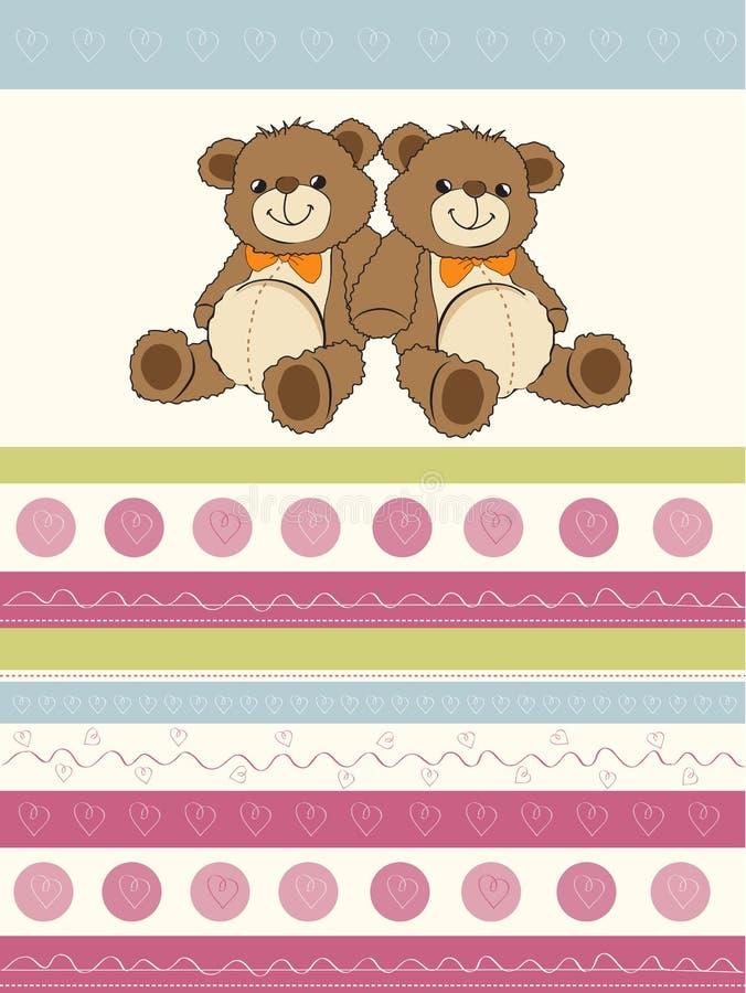 Cardez avec des ours de nounours de jumeaux illustration libre de droits
