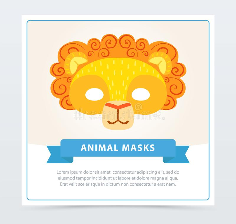 Cardez avec le masque de lion des enfants s avec la crinière orange illustration de vecteur