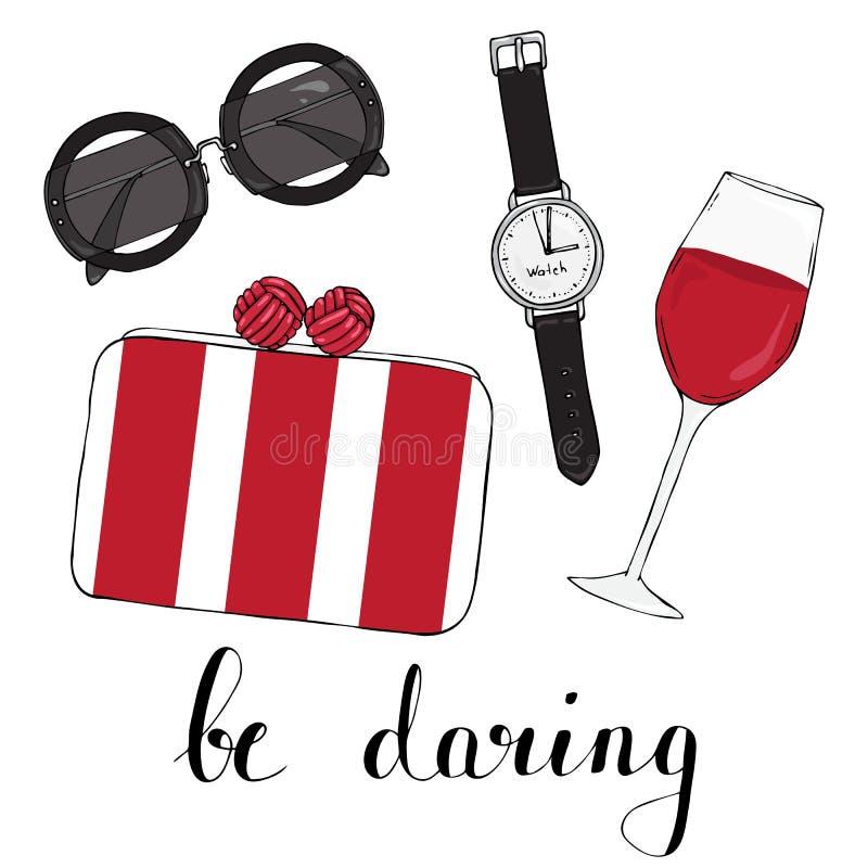 Cardez avec les verres des femmes mettent en sac et un verre de vin illustration de vecteur
